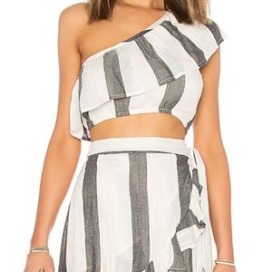 L-Space Stripe Alicia Top and Lucia Skirt Set S
